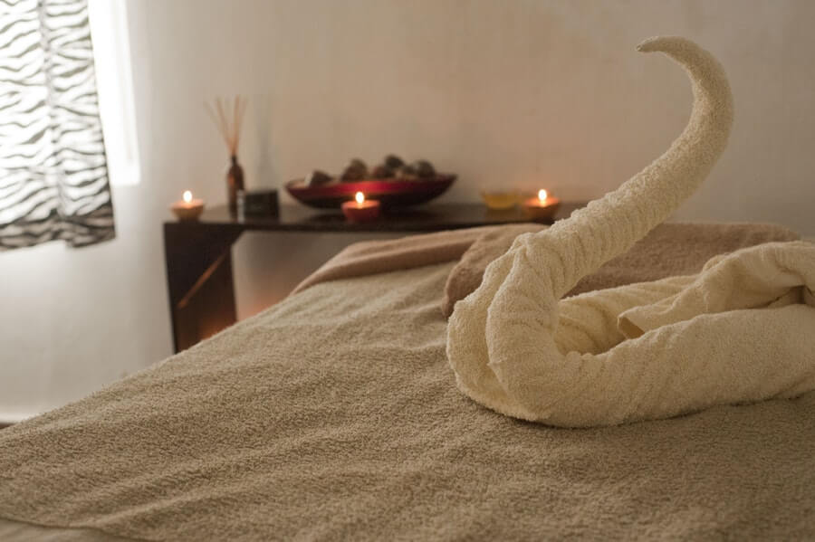 Massage table with towel