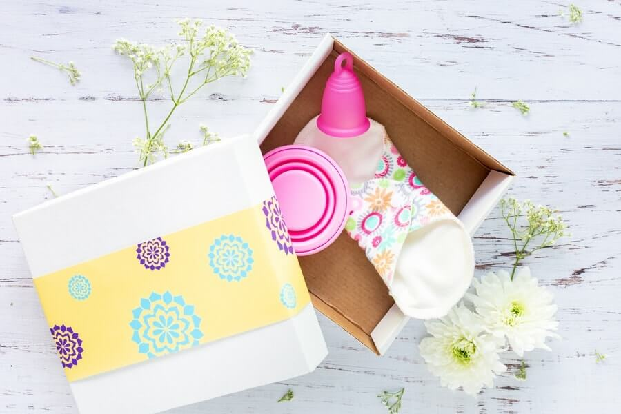 menstrual products in a box